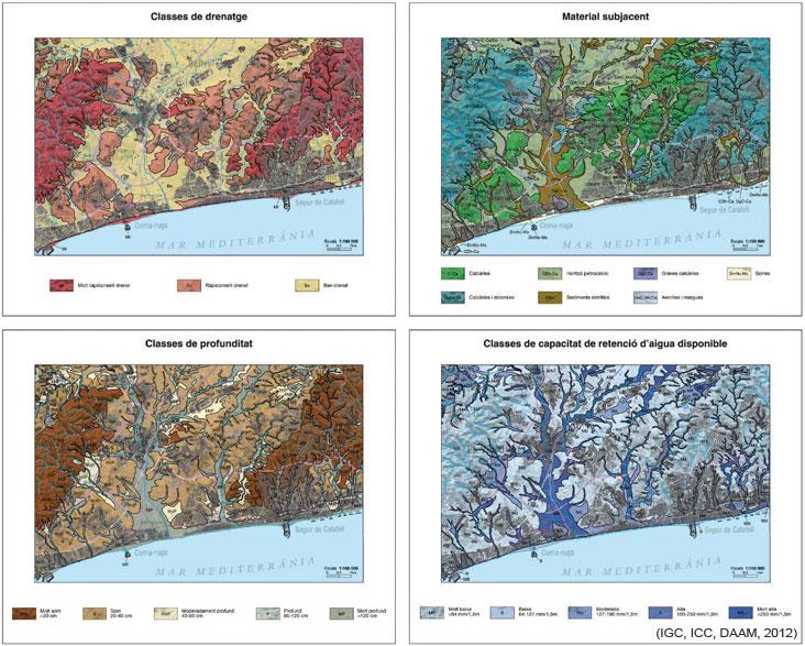 Figura 4. Alguns esquemes cartogràfics complementaris del mapa de sòls 1:25 000 del full del Vendrell 447-1-2 (69-34).  Classes de drenatge, Material subjacent, Classes de profunditat i Classes de capacitat de retenció d'aigua disponible.