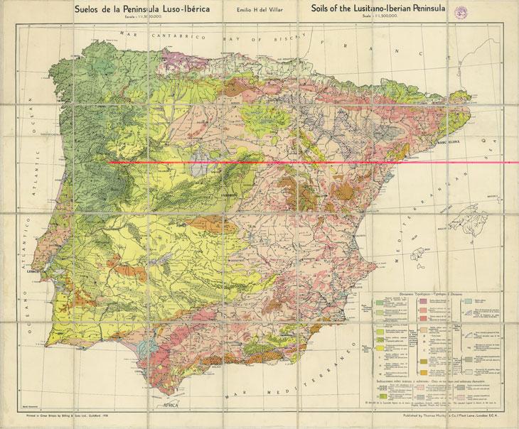 Figura 1. Mapa de sòls de la península lusoibèrica d'Emili Huguet del Villar (1937)