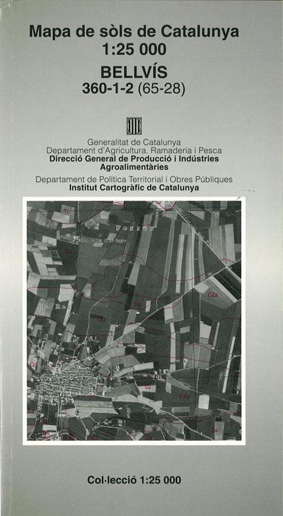 Figura 2. Mapa de sòls de Catalunya 1:25 000. Full núm 360-1-2(65-28) Bellvís. DAAM 1993