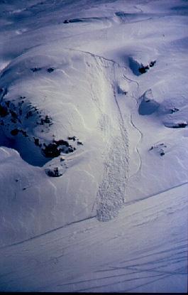 Allau de neu recent provocada pel pas d'un esquiador. (Foto: Joan Manuel Vilaplana)