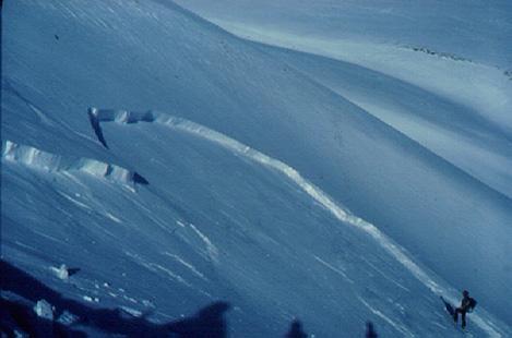 Cicatriu d'una placa de vent provocada pel pas d'un esquiador. Val d'Aran. (Foto: Glòria Furdada)