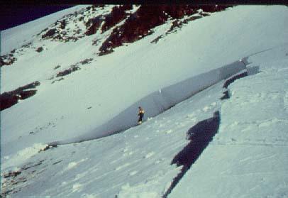 Cicatriu d'una placa de vent. Observeu el gruix de la cicatriu en comparació amb l'esquiador. (Foto: Joaquim Merlos)
