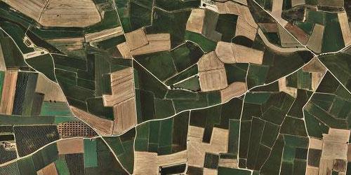 Imatge aèria d'una zona agrícola.