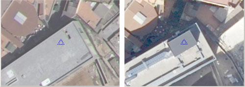 Comparació de la coberta d'un edifici, en dos vols LiDAR, en què s'observa una nova construcció.