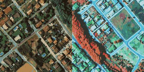 Comparació d'una zona en una fotografia aèria en l'espectre visible i una altra en l'infraroig proper.