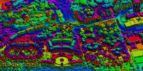 Representació d'una zona a partir de dades LiDAR, amb punts 3D, mostrant diverses densitats.