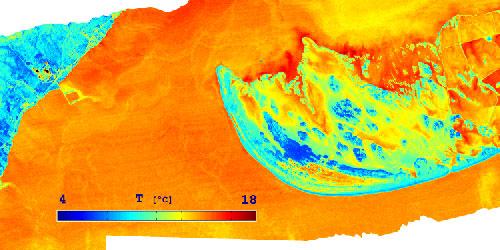 Representació d'una zona a partir de dades de radiàncies i temperatures.