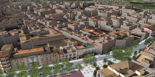 Representació d'un model 3D d'una zona urbana.