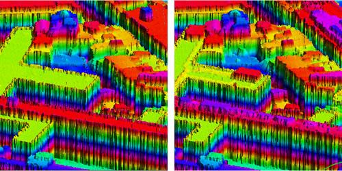 Representació d'una zona urbana amb de dades LiDAR de dos vols diferents, per detectar noves construccions.