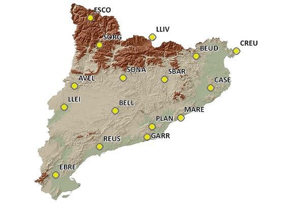 Mapa de Catalunya amb la localització de les estacions de la xarxa CatNet.