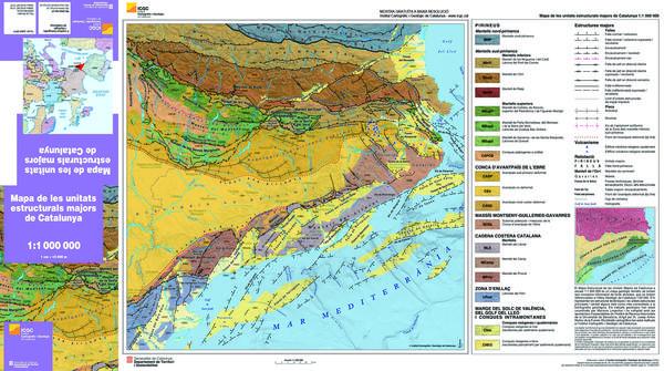 Mapa de les unitats estructurals majors de Catalunya 1:1.000.000
