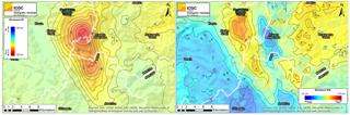 Mapa del moviment vertical (eaquerra) i horitzontal (dreta) de la zona d'Itàlia afectada pel sisme d'agost