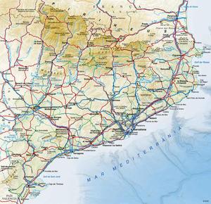 Mapa topogràfic de Catalunya 1:1.000.000