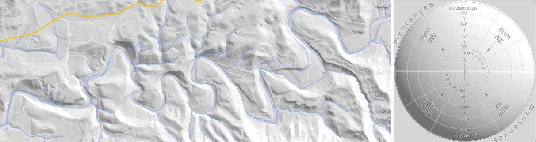 Ombrejat cartogràfic amb llum provinent del NW en gamma de grisos
